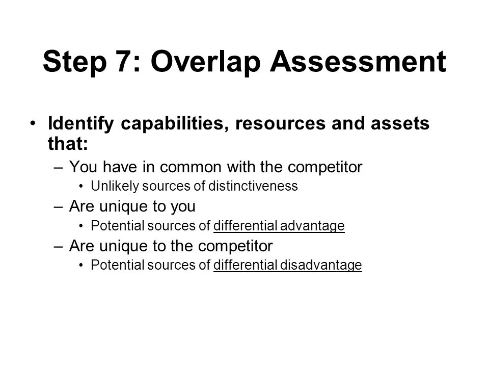 Step 7: Overlap Assessment Identify capabilities, resources and assets that: –You have in common with the competitor Unlikely sources of distinctiveness –Are unique to you Potential sources of differential advantage –Are unique to the competitor Potential sources of differential disadvantage
