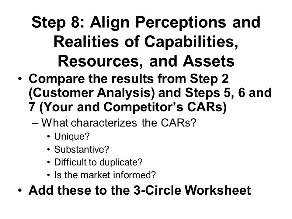 Step 8: Align Perceptions and Realities of Capabilities, Resources, and Assets Compare the results from Step 2 (Customer Analysis) and Steps 5, 6 and 7 (Your and Competitor's CARs) –What characterizes the CARs.