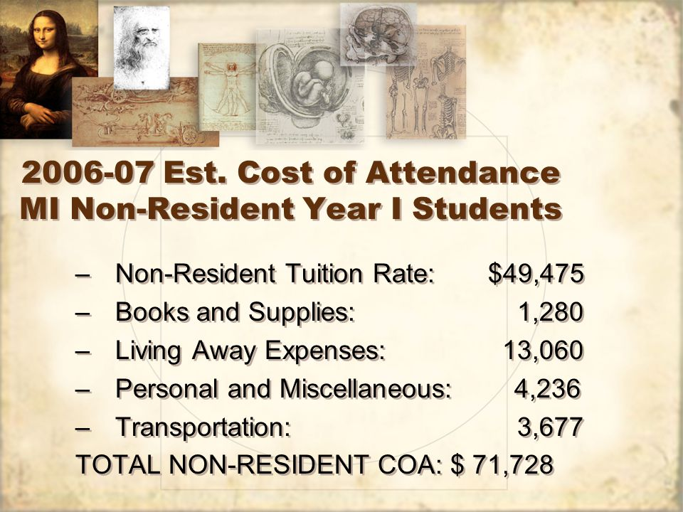 2006-07 Est. Cost of Attendance MI Non-Resident Year I Students –Non-Resident Tuition Rate: $49,475 –Books and Supplies: 1,280 –Living Away Expenses: