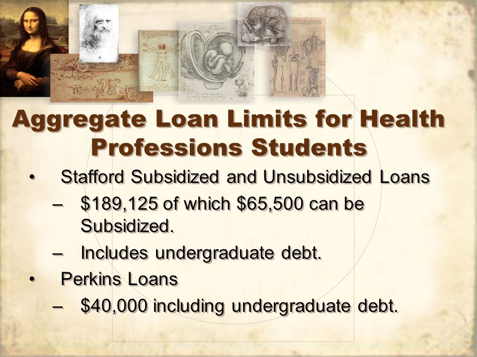 Aggregate Loan Limits for Health Professions Students Stafford Subsidized and Unsubsidized Loans –$189,125 of which $65,500 can be Subsidized.