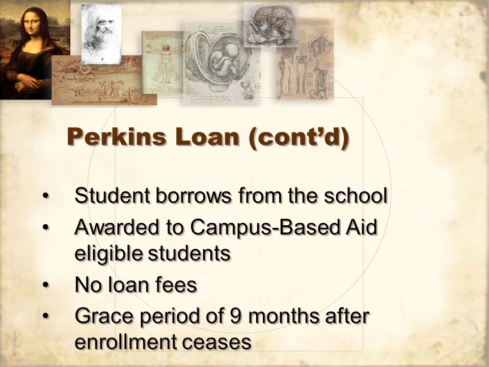 Perkins Loan (cont'd) Student borrows from the school Awarded to Campus-Based Aid eligible students No loan fees Grace period of 9 months after enrollment ceases Student borrows from the school Awarded to Campus-Based Aid eligible students No loan fees Grace period of 9 months after enrollment ceases