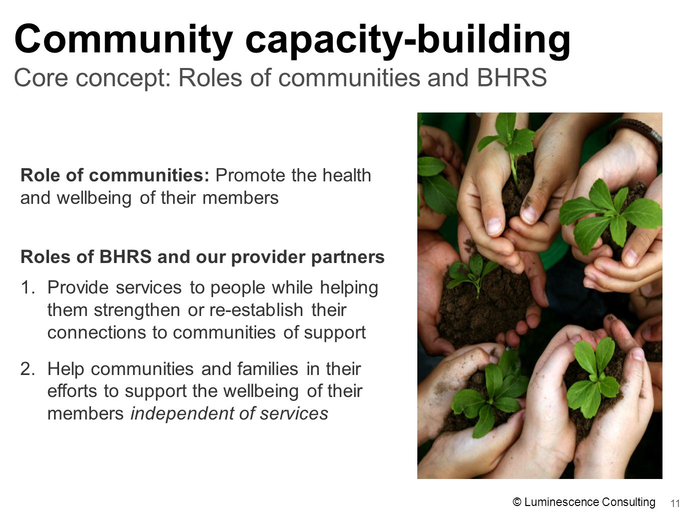 11 Core concept: Roles of communities and BHRS Community capacity-building Roles of BHRS and our provider partners 1.Provide services to people while helping them strengthen or re-establish their connections to communities of support 2.Help communities and families in their efforts to support the wellbeing of their members independent of services Role of communities: Promote the health and wellbeing of their members © Luminescence Consulting