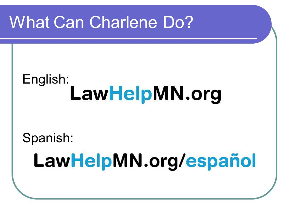 What Can Charlene Do? English: Spanish: