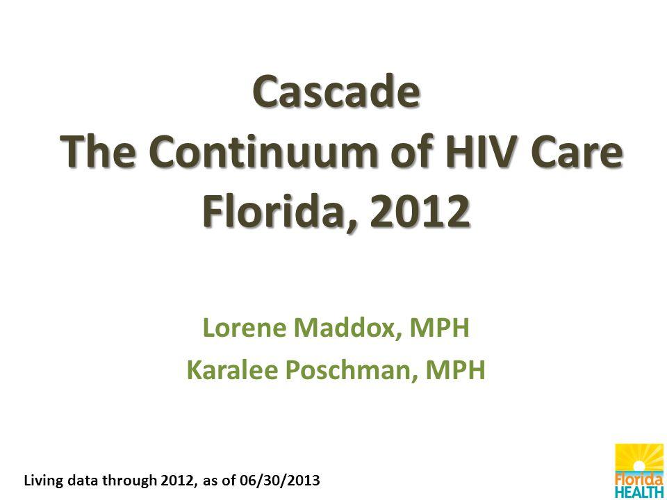 Cascade The Continuum of HIV Care Florida, 2012 Lorene Maddox, MPH Karalee Poschman, MPH Living data through 2012, as of 06/30/2013