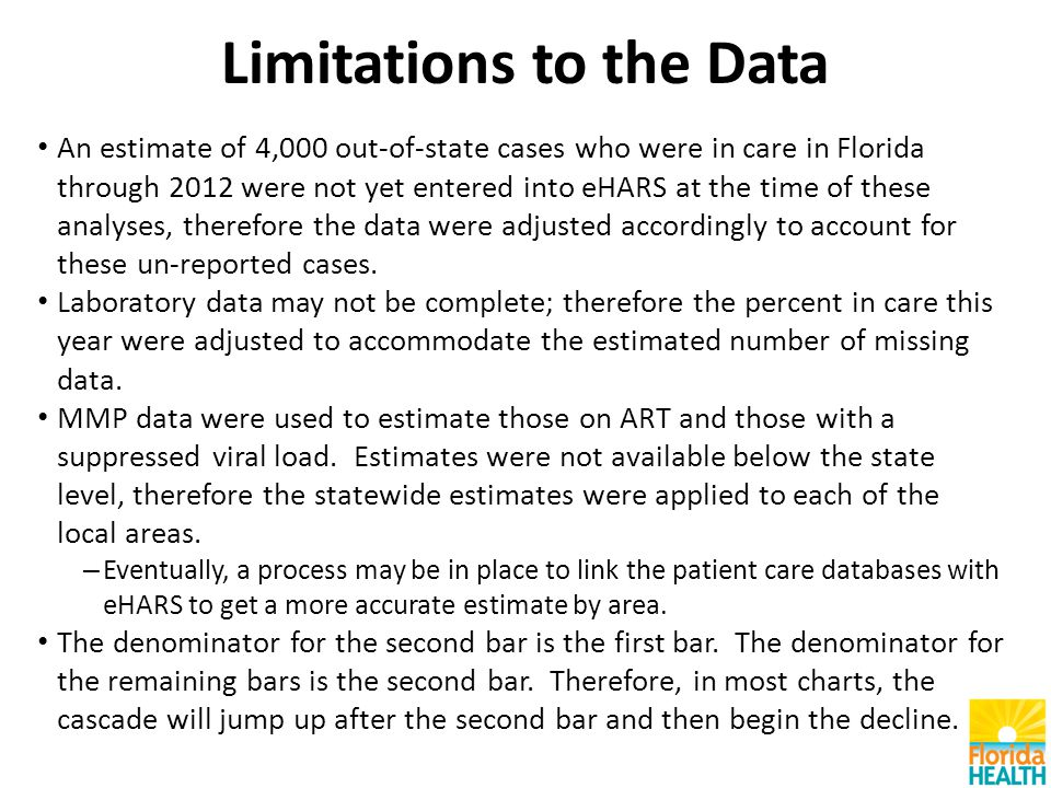 Limitations to the Data An estimate of 4,000 out-of-state cases who were in care in Florida through 2012 were not yet entered into eHARS at the time of these analyses, therefore the data were adjusted accordingly to account for these un-reported cases.