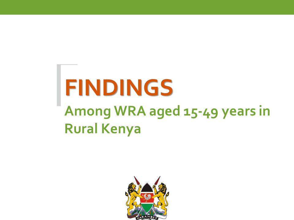 FINDINGS FINDINGS Among WRA aged 15-49 years in Rural Kenya