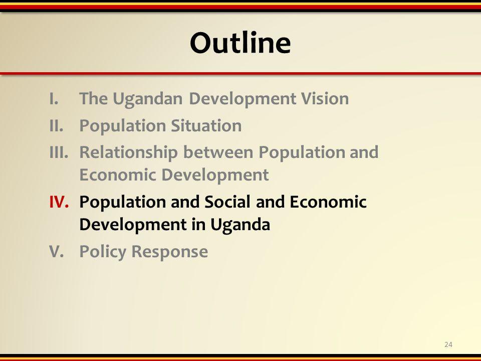 Outline I.The Ugandan Development Vision II.Population Situation III.Relationship between Population and Economic Development IV.Population and Social and Economic Development in Uganda V.Policy Response 24