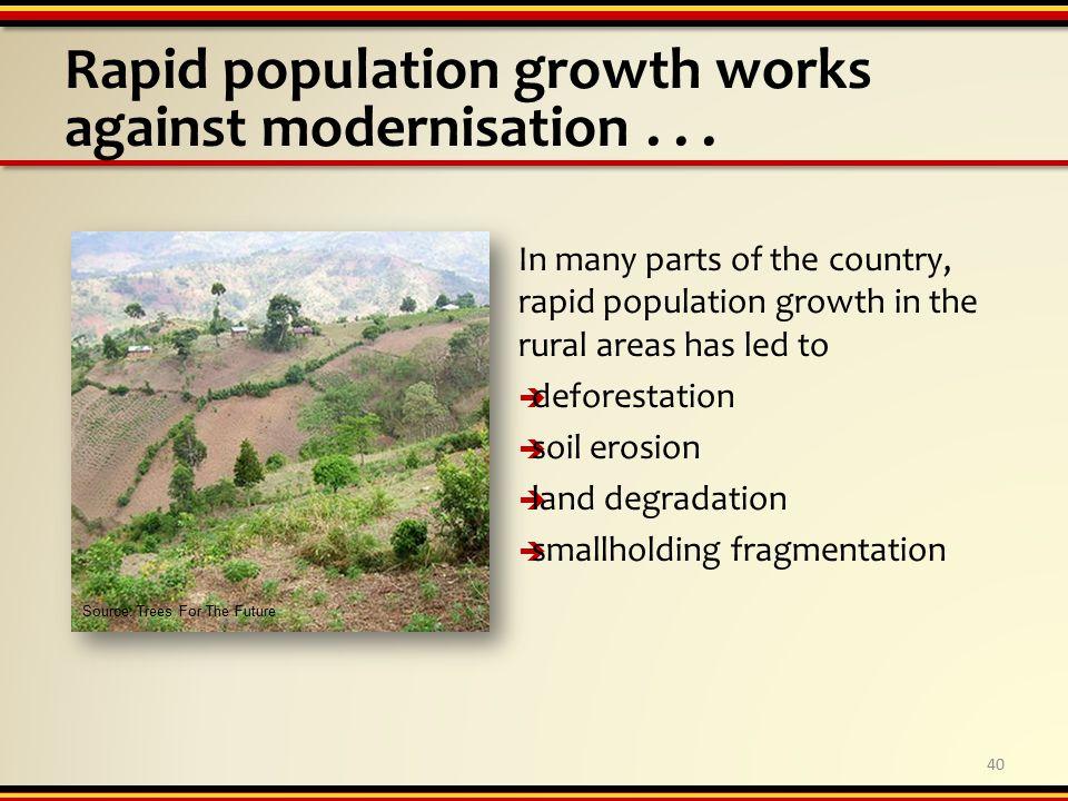Rapid population growth works against modernisation...