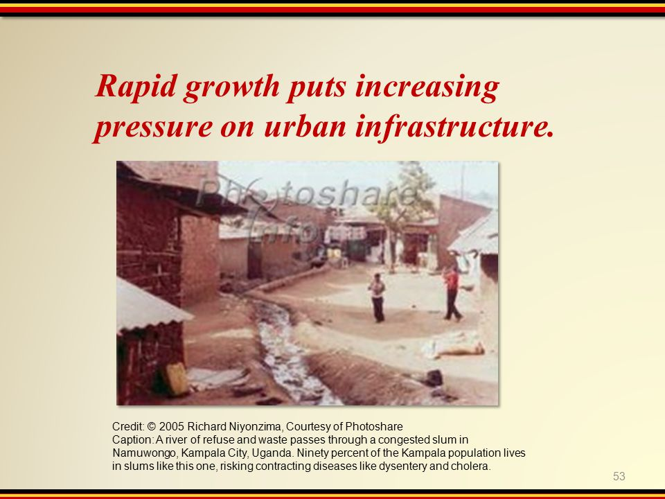 53 Rapid growth puts increasing pressure on urban infrastructure.