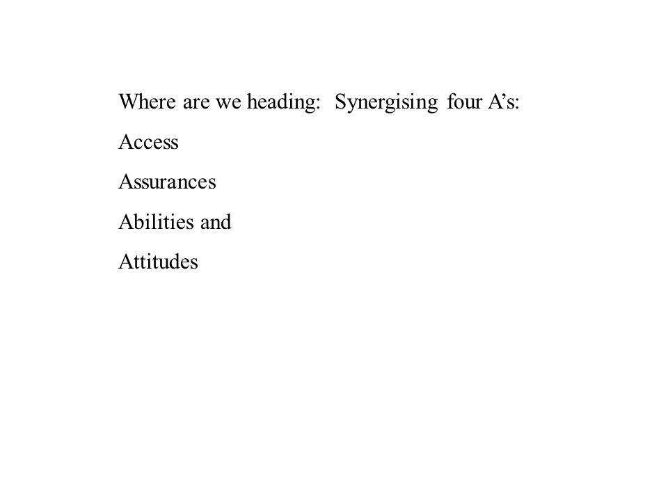 Where are we heading: Synergising four A's: Access Assurances Abilities and Attitudes