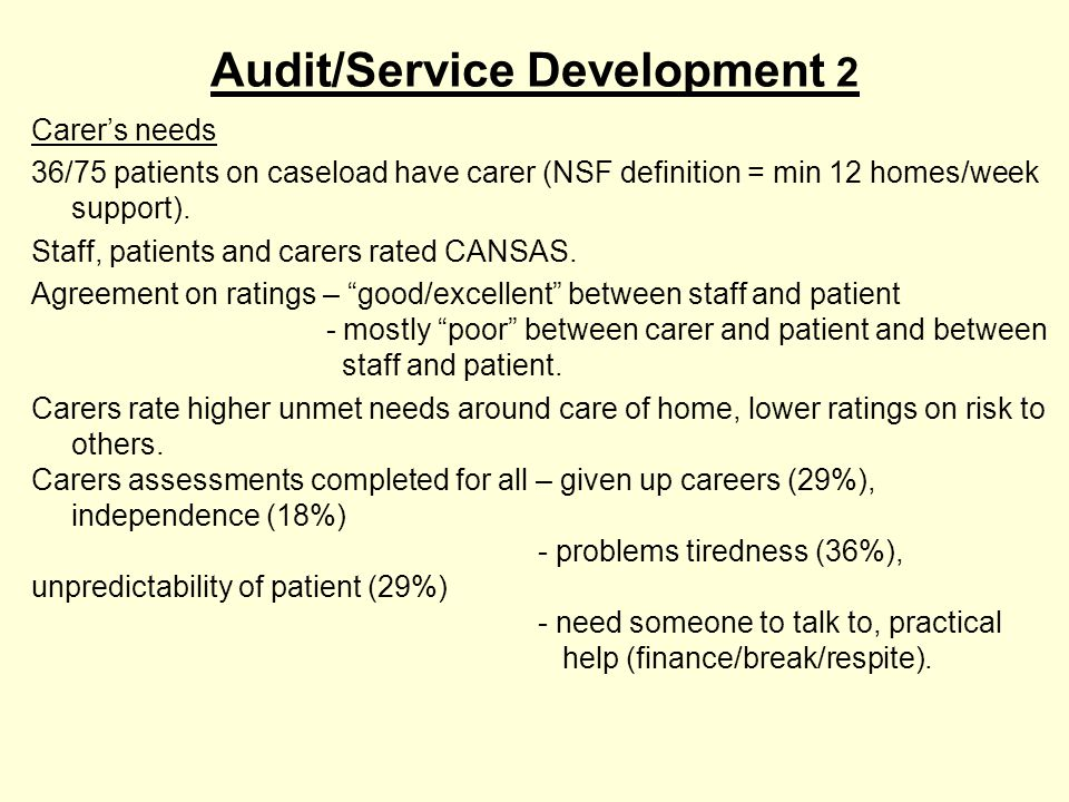 Audit/Service Development 3 Changing patients' needs From 2003 started routinely using CANSAS and EM, 6 monthly.