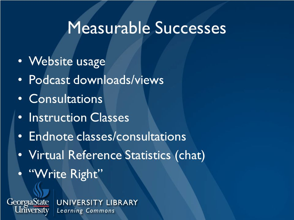 Measurable Successes Website usage Podcast downloads/views Consultations Instruction Classes Endnote classes/consultations Virtual Reference Statistics (chat) Write Right