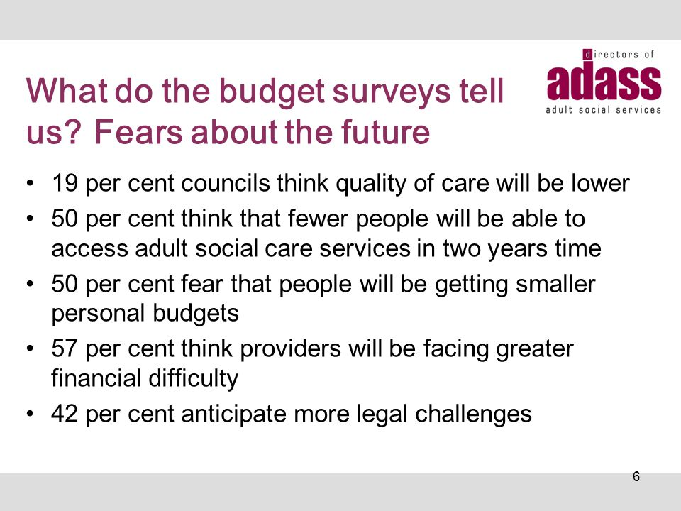 Demographic Pressures Budget survey has consistently shown that demographic pressures are about 3% a year (and this may be understated) This is not just about an ageing population but also the increased costs of caring for younger adults as their needs become more complex and informal care arrangements breakdown There is also unmet need.