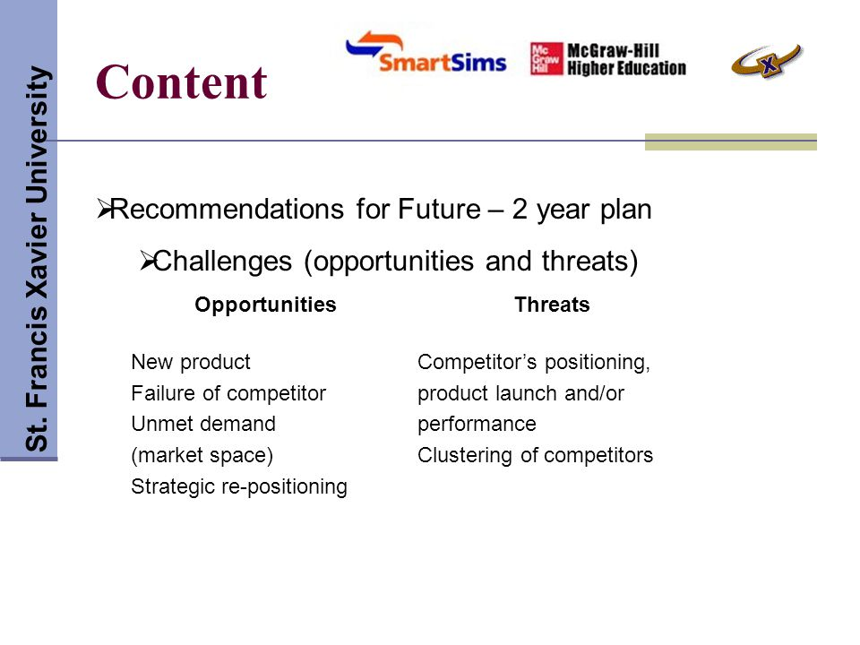 Content St. Francis Xavier University  Recommendations for Future – 2 year plan  Challenges (opportunities and threats) OpportunitiesThreats New pro
