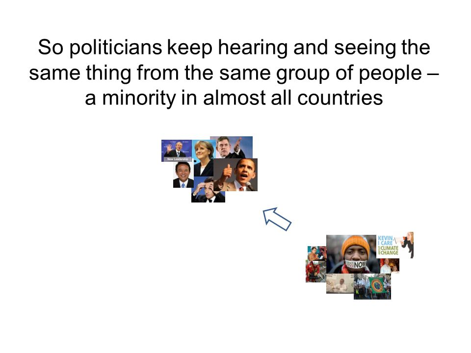 So politicians keep hearing and seeing the same thing from the same group of people – a minority in almost all countries