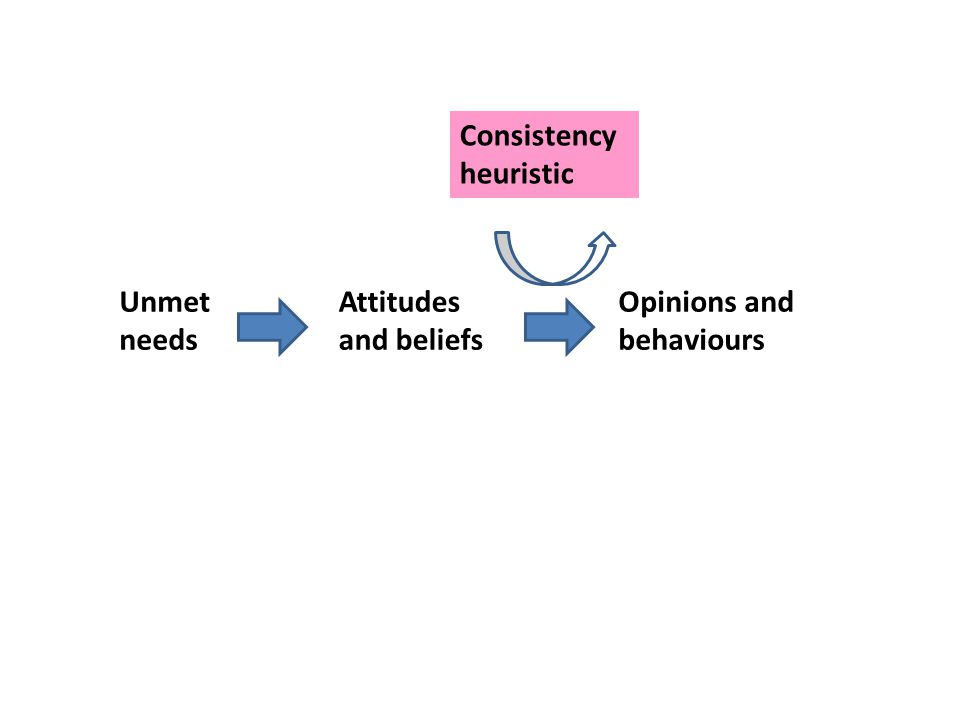 Unmet needs Attitudes and beliefs Opinions and behaviours Consistency heuristic