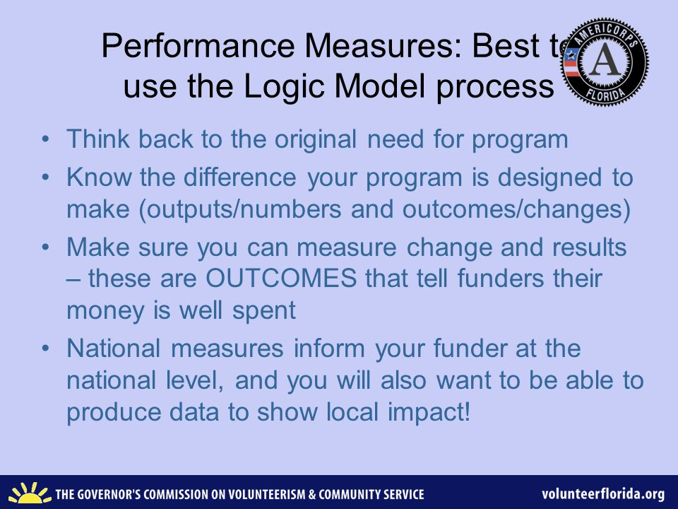 Be able to think through the LOGIC MODEL - sample Inputs: AmeriCorps members & students Activities: Identify students to tutor during school day Outputs: Number of students tutored per week Outcomes (short term or Intermediate): students increase reading skills by 40% Outcomes (longer term): students meet or exceed grade average reading standards Outcomes (long-term or End): Students graduate from high school on time with diploma (and have a better quality of life although this may not be measurable)