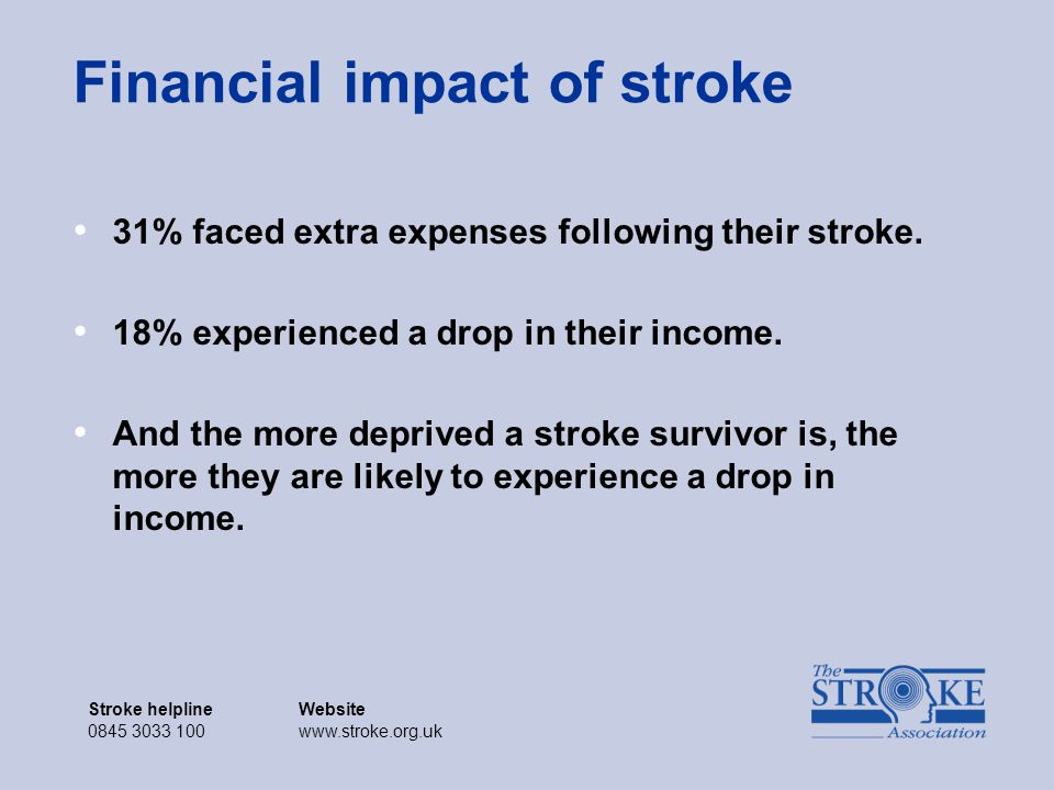 Stroke helplineWebsite 0845 3033 100www.stroke.org.uk Stroke helplineWebsite 0845 3033 100www.stroke.org.uk Financial impact of stroke 31% faced extra expenses following their stroke.