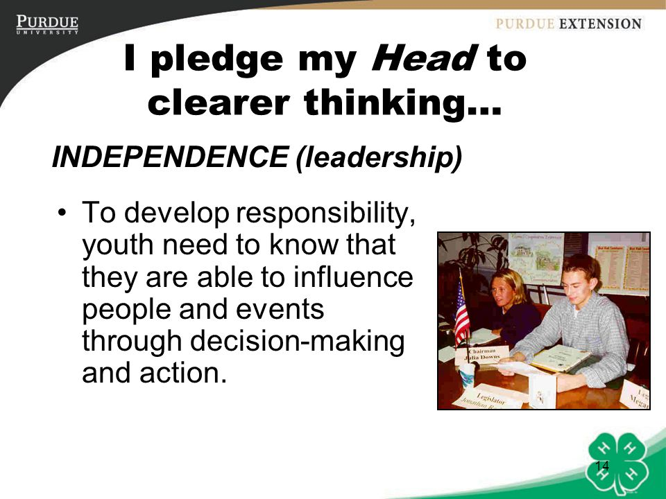 15 I pledge my Hands to larger service… Youth need to feel their lives have meaning and purpose.