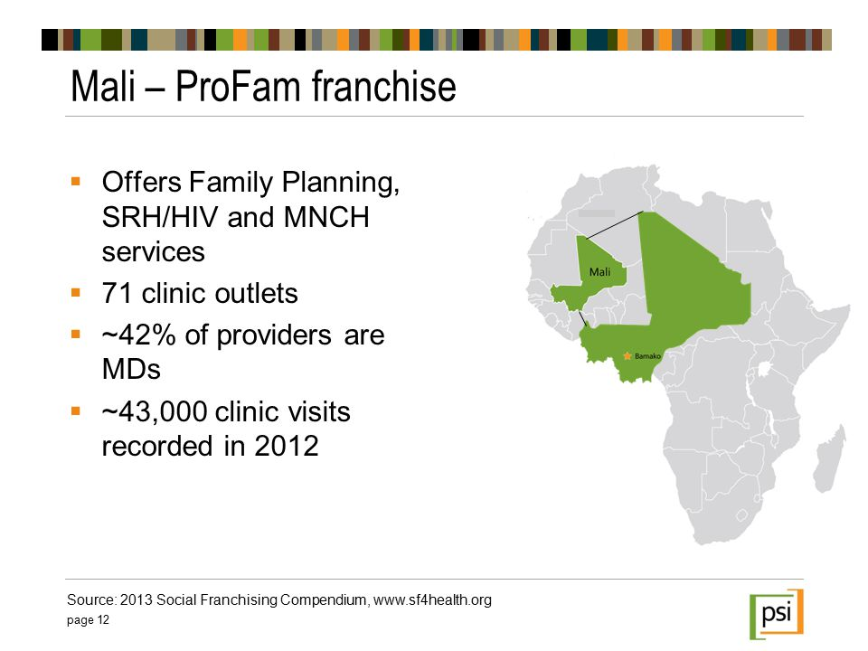  Offers Family Planning, SRH/HIV and MNCH services  71 clinic outlets  ~42% of providers are MDs  ~43,000 clinic visits recorded in 2012 Mali – ProFam franchise page 12 Source: 2013 Social Franchising Compendium, www.sf4health.org