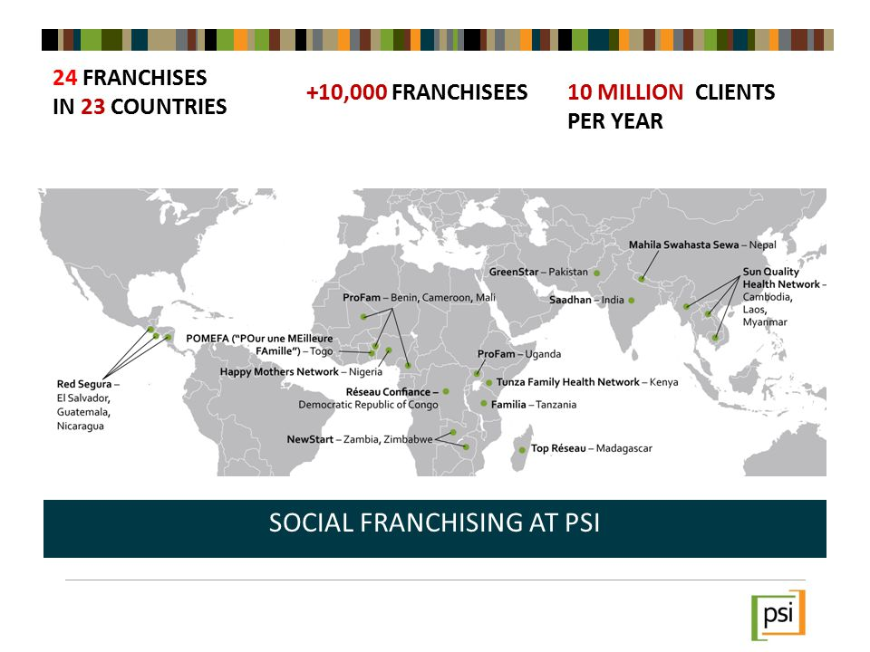 24 FRANCHISES IN 23 COUNTRIES SOCIAL FRANCHISING AT PSI +10,000 FRANCHISEES10 MILLION CLIENTS PER YEAR