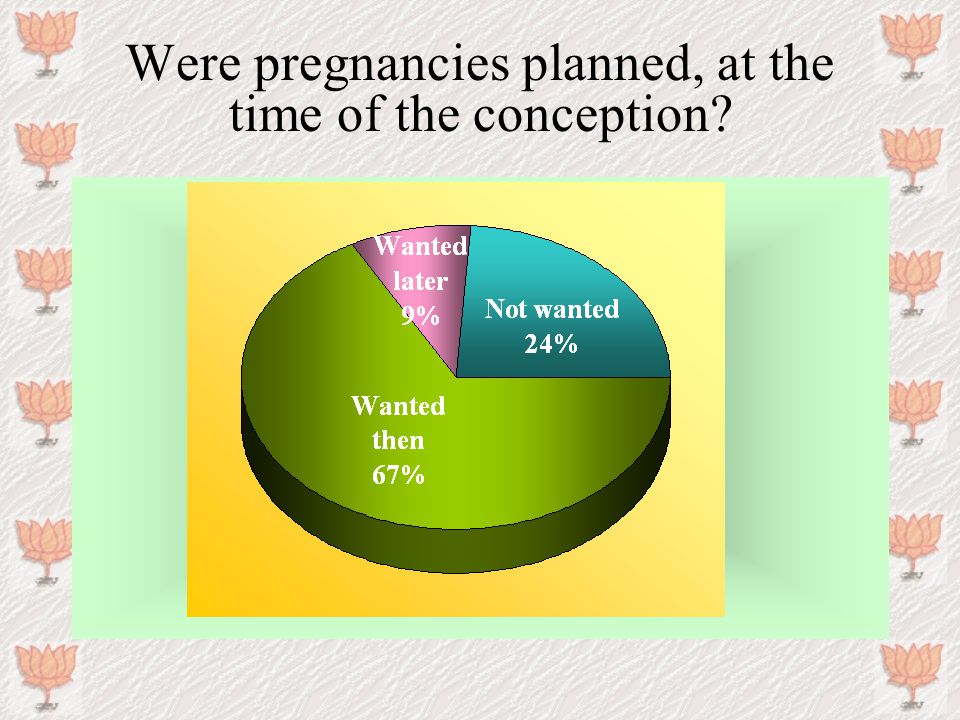 Were pregnancies planned, at the time of the conception