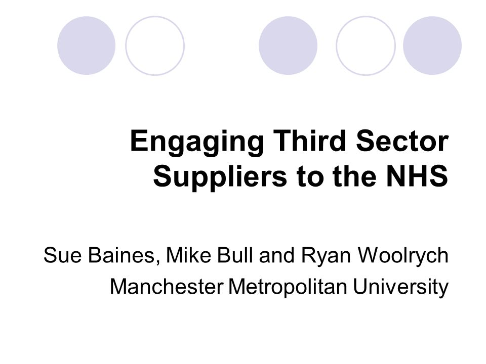 Objectives: Examine expectations that organisations from the Third Sector including social enterprises will compete for contracts to deliver public services.
