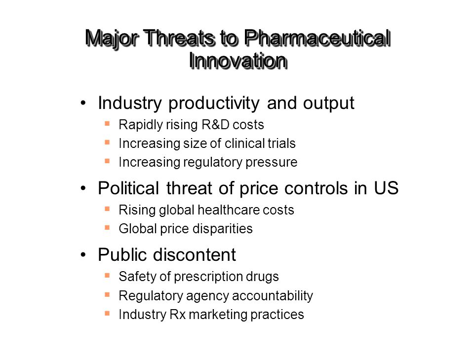 Major Threats to Pharmaceutical Innovation Industry productivity and output  Rapidly rising R&D costs  Increasing size of clinical trials  Increasi
