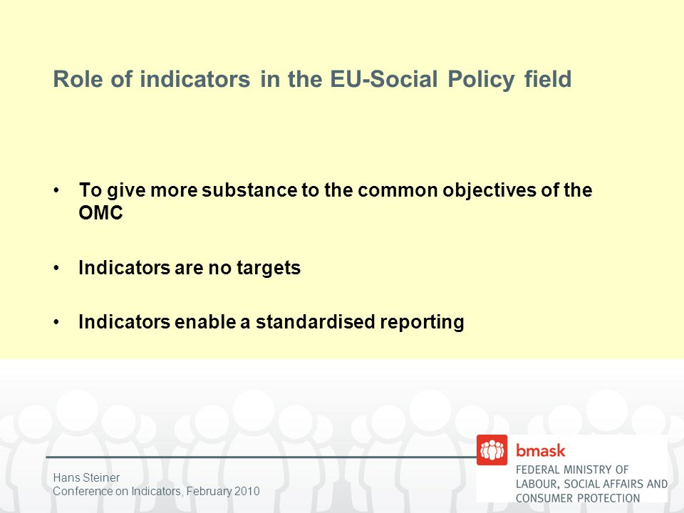 Hans Steiner Conference on Indicators, February 2010 Role of indicators in the EU-Social Policy field Rules for the selection of the portfolio of indicators in the 4 strands -Cover all key dimensions of the objectives -Be balanced across the dimensions -Enable a country assessment in relation to the objectives