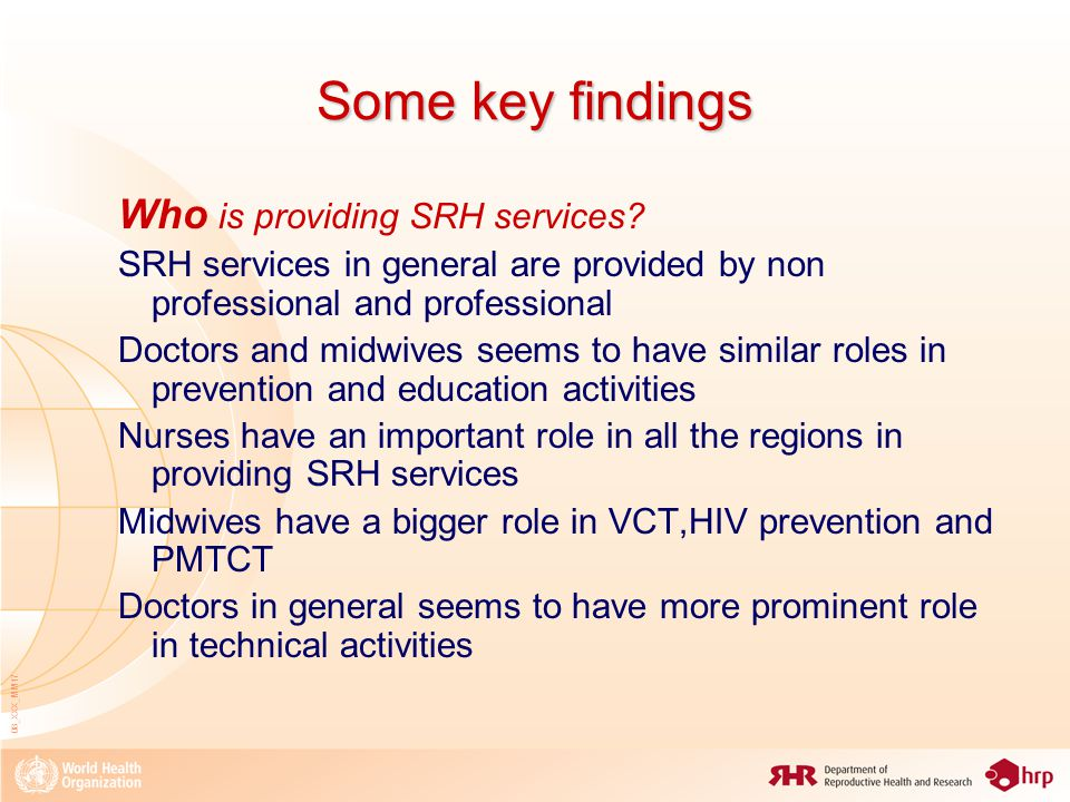 08_XXX_MM17 Some key findings Who is providing SRH services.