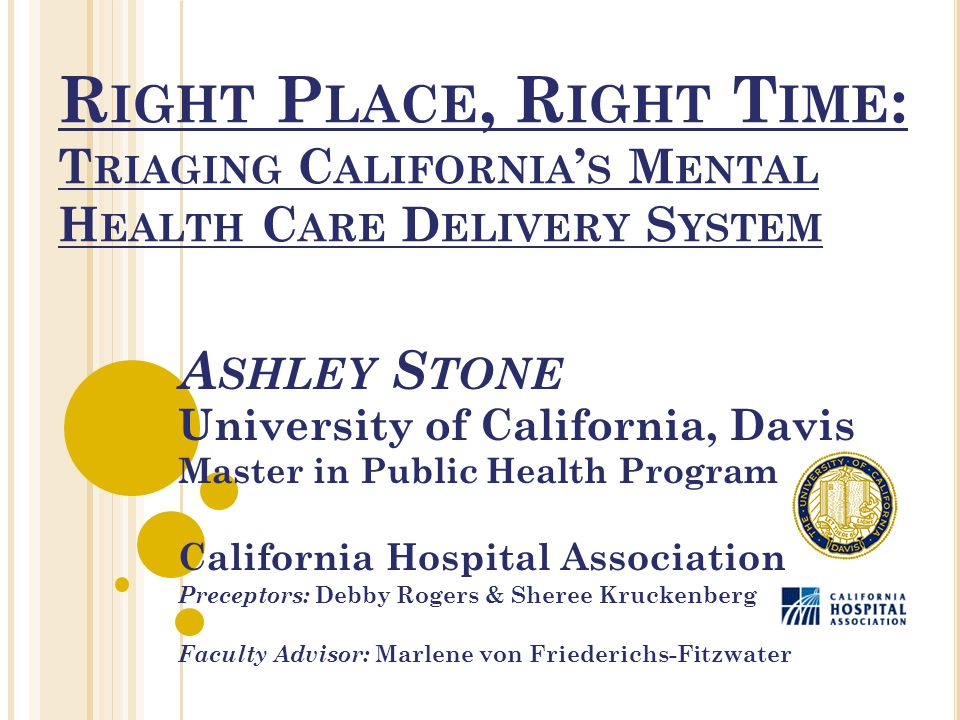 R IGHT P LACE, R IGHT T IME : T RIAGING C ALIFORNIA ' S M ENTAL H EALTH C ARE D ELIVERY S YSTEM A SHLEY S TONE University of California, Davis Master in Public Health Program California Hospital Association Preceptors: Debby Rogers & Sheree Kruckenberg Faculty Advisor: Marlene von Friederichs-Fitzwater