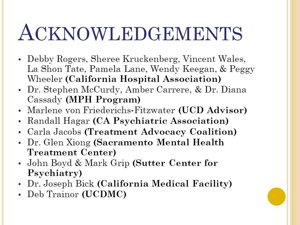 A CKNOWLEDGEMENTS  Debby Rogers, Sheree Kruckenberg, Vincent Wales, La Shon Tate, Pamela Lane, Wendy Keegan, & Peggy Wheeler (California Hospital Association)  Dr.