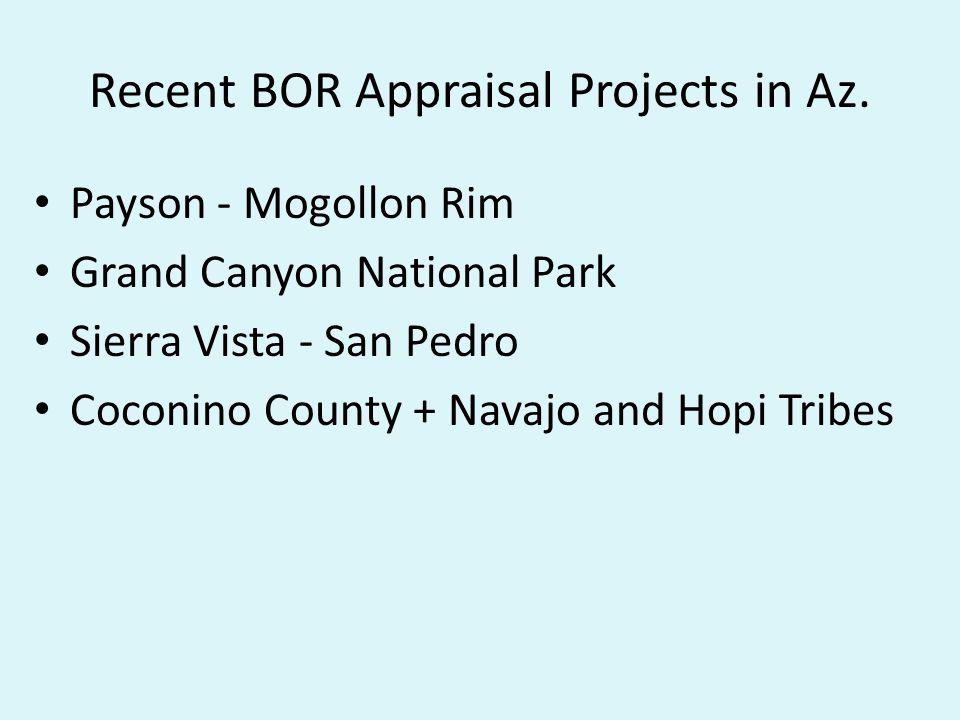 Recent BOR Appraisal Projects in Az.