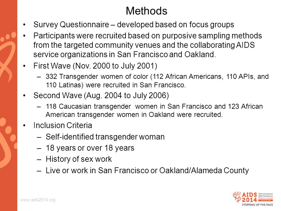 www.aids2014.org Methods (continued) Unmet needs were assessed using 19 items.