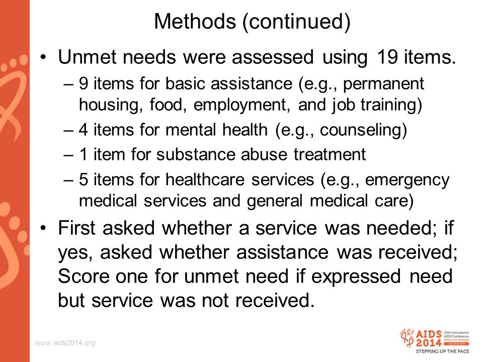 www.aids2014.org Summary of Multiple Linear Regression of Number of Unmet Needs Model Unstandardized Coefficients Standardized Coefficients tSig.