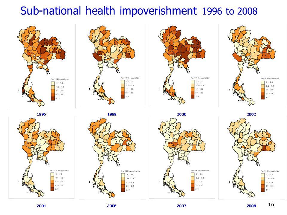 16 Sub-national health impoverishment 1996 to 2008