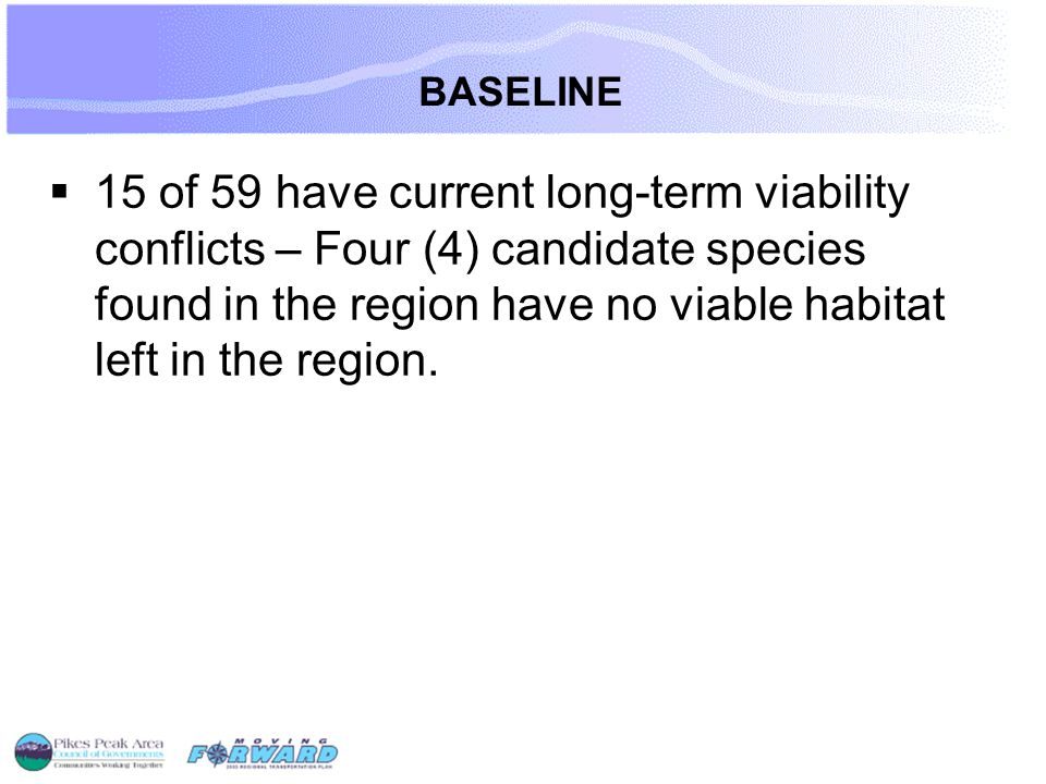 BASELINE  15 of 59 have current long-term viability conflicts – Four (4) candidate species found in the region have no viable habitat left in the region.