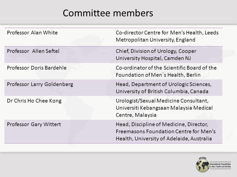 Committee members Professor Alan WhiteCo-director Centre for Men's Health, Leeds Metropolitan University, England Professor Allen SeftelChief, Divisio