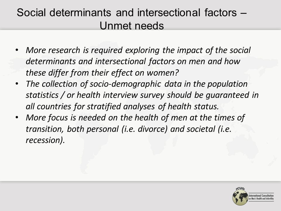 More research is required exploring the impact of the social determinants and intersectional factors on men and how these differ from their effect on women.