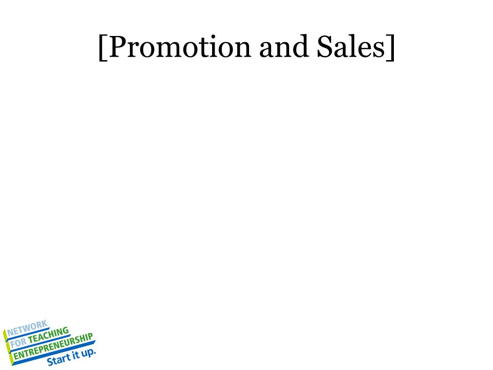 [Promotion and Sales]