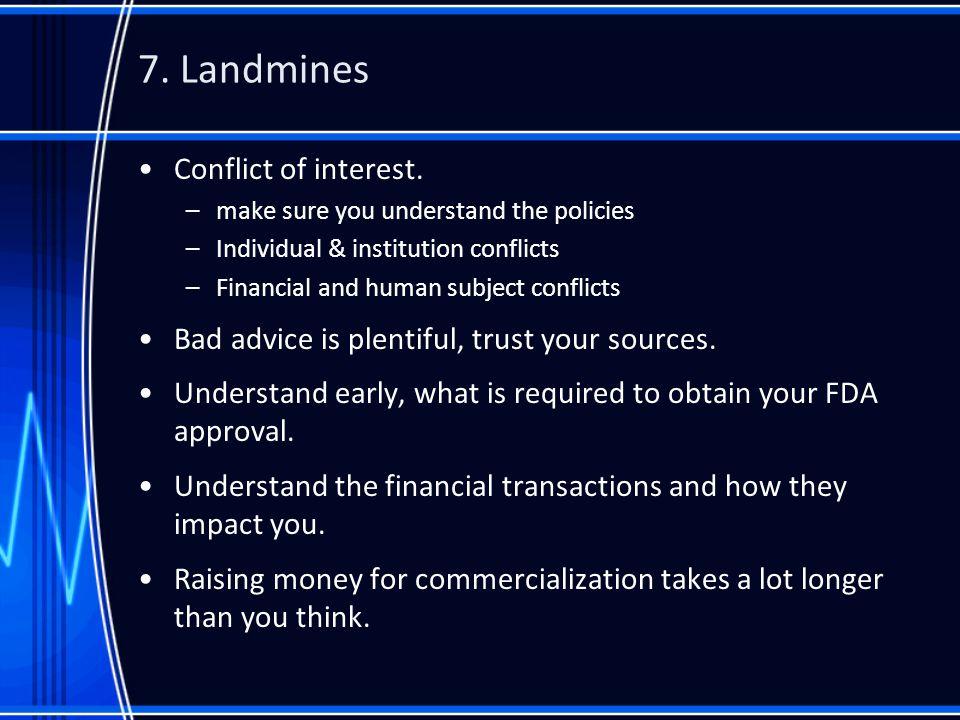 7. Landmines Conflict of interest.