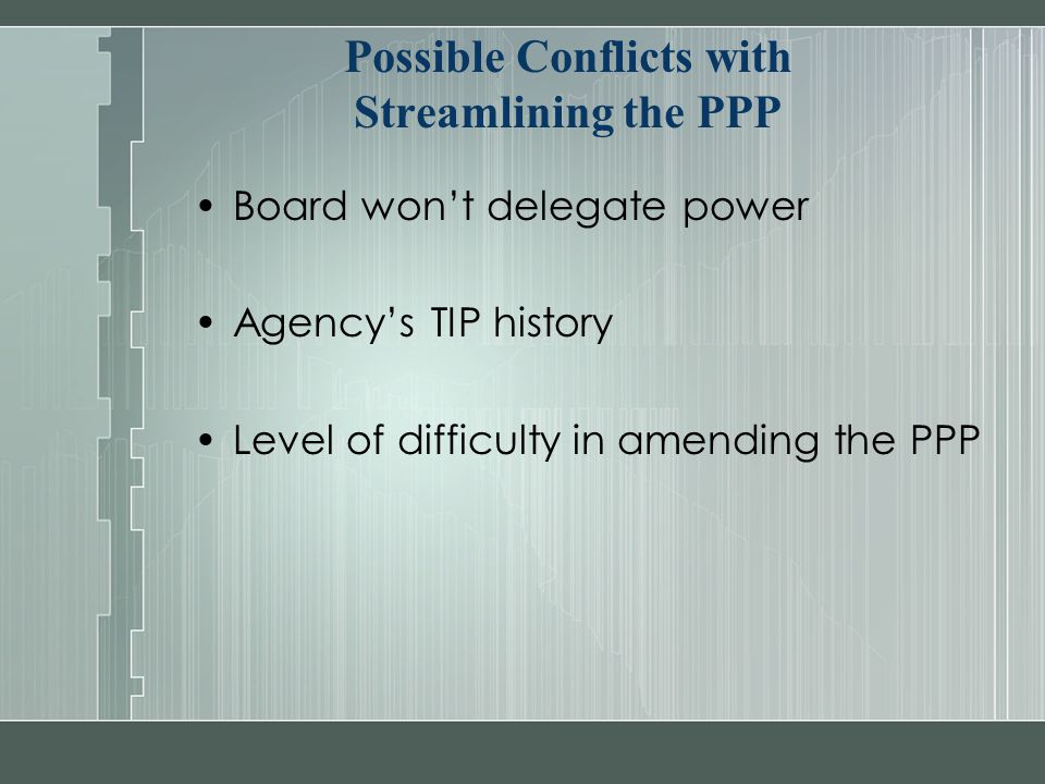 Possible Conflicts with Streamlining the PPP Board won't delegate power Agency's TIP history Level of difficulty in amending the PPP