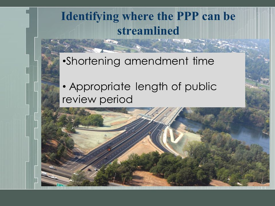 Identifying where the PPP can be streamlined Shortening amendment time Appropriate length of public review period