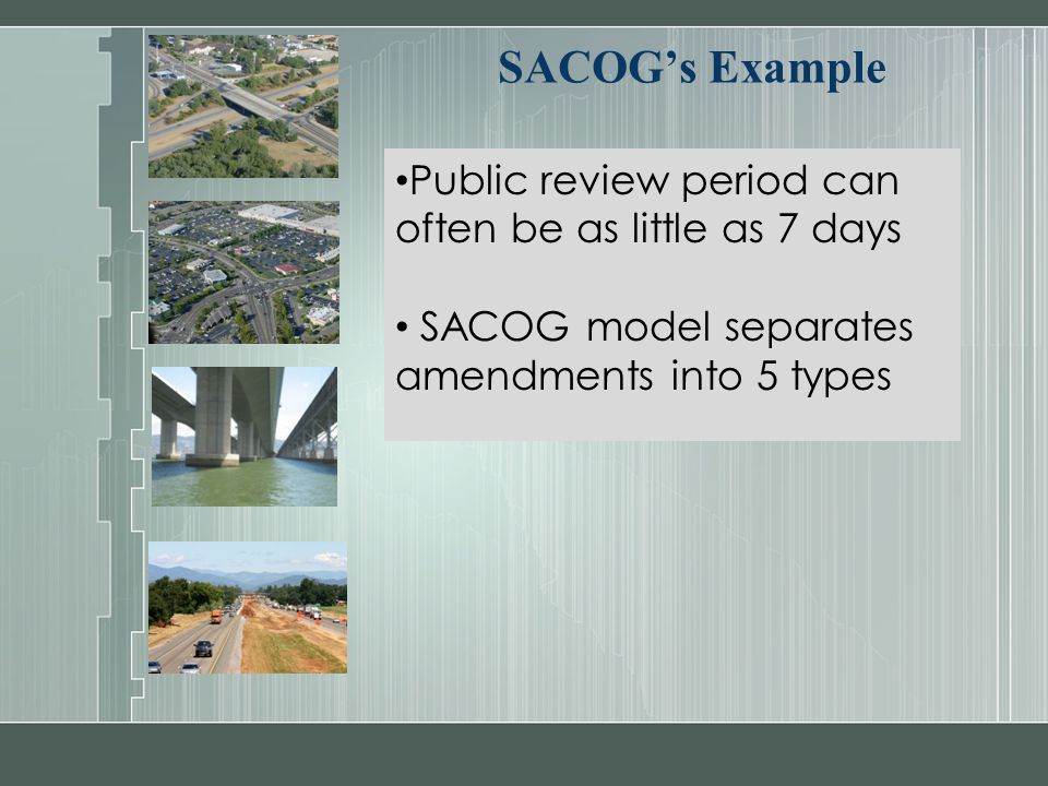 SACOG's Example Public review period can often be as little as 7 days SACOG model separates amendments into 5 types