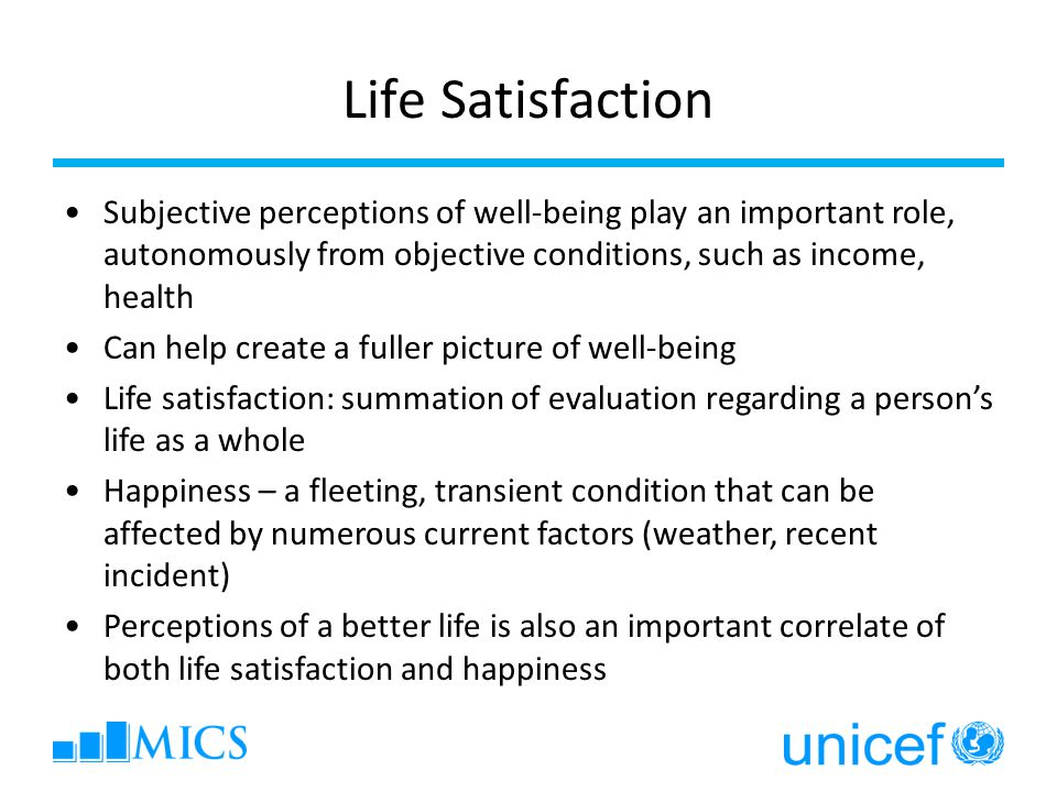 Life Satisfaction Subjective perceptions of well-being play an important role, autonomously from objective conditions, such as income, health Can help create a fuller picture of well-being Life satisfaction: summation of evaluation regarding a person's life as a whole Happiness – a fleeting, transient condition that can be affected by numerous current factors (weather, recent incident) Perceptions of a better life is also an important correlate of both life satisfaction and happiness