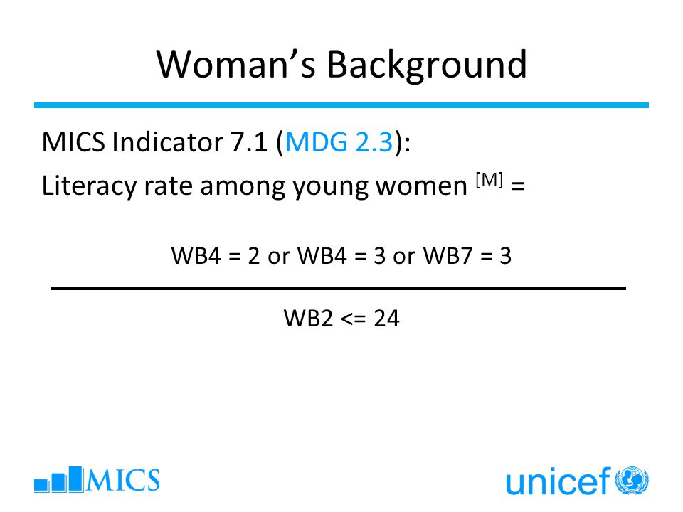 Woman's Background MICS Indicator 7.1 (MDG 2.3): Literacy rate among young women [M] = WB4 = 2 or WB4 = 3 or WB7 = 3 WB2 <= 24