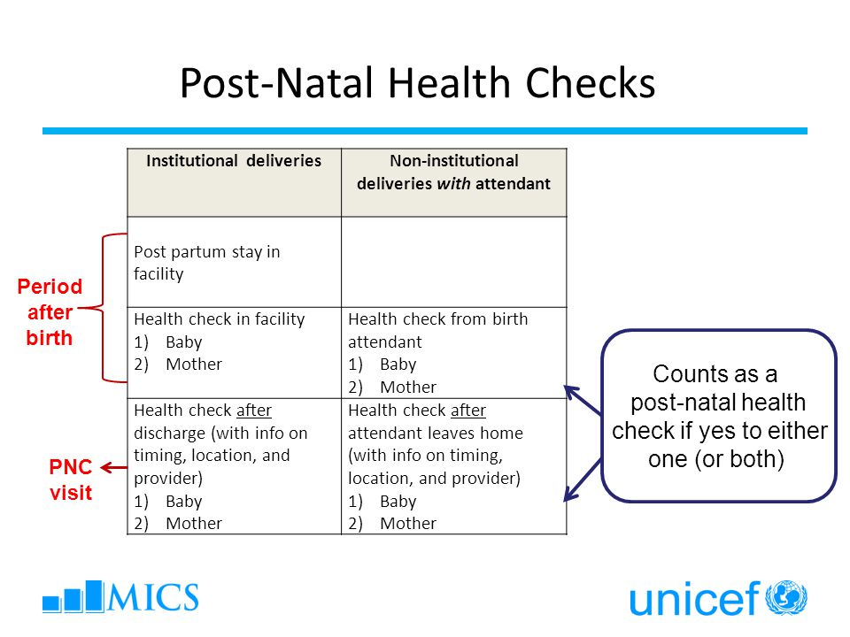 Institutional deliveriesNon-institutional deliveries with attendant Post partum stay in facility Health check in facility 1)Baby 2)Mother Health check from birth attendant 1)Baby 2)Mother Health check after discharge (with info on timing, location, and provider) 1)Baby 2)Mother Health check after attendant leaves home (with info on timing, location, and provider) 1)Baby 2)Mother Post-Natal Health Checks Period after birth PNC visit Counts as a post-natal health check if yes to either one (or both)