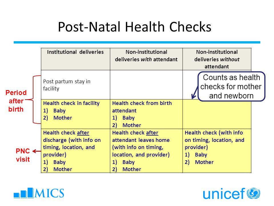 Institutional deliveriesNon-institutional deliveries with attendant Non-institutional deliveries without attendant Post partum stay in facility Health check in facility 1)Baby 2)Mother Health check from birth attendant 1)Baby 2)Mother Health check after discharge (with info on timing, location, and provider) 1)Baby 2)Mother Health check after attendant leaves home (with info on timing, location, and provider) 1)Baby 2)Mother Health check (with info on timing, location, and provider) 1)Baby 2)Mother Post-Natal Health Checks Period after birth PNC visit Counts as health checks for mother and newborn