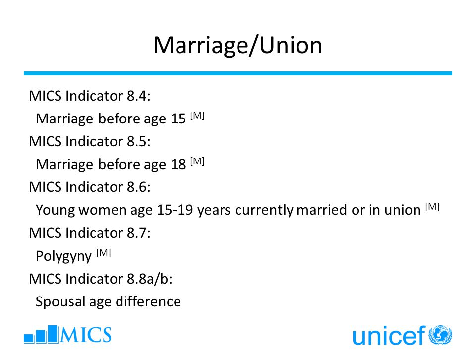 Marriage/Union MICS Indicator 8.4: Marriage before age 15 [M] MICS Indicator 8.5: Marriage before age 18 [M] MICS Indicator 8.6: Young women age 15-19 years currently married or in union [M] MICS Indicator 8.7: Polygyny [M] MICS Indicator 8.8a/b: Spousal age difference