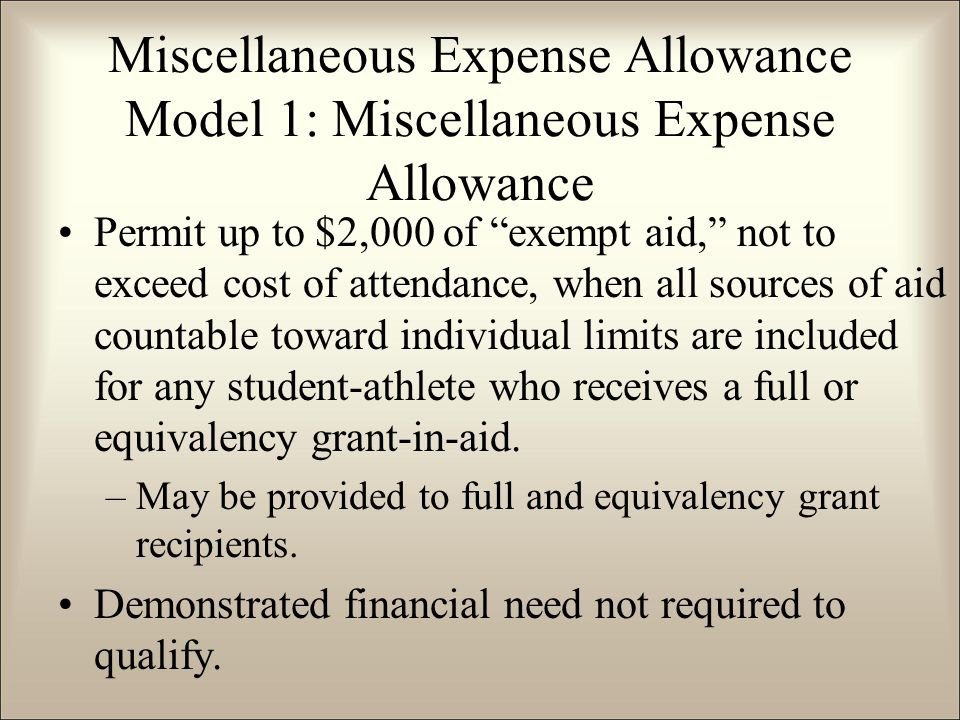 Permit up to $2,000 of exempt aid, not to exceed cost of attendance, when all sources of aid countable toward individual limits are included for any student-athlete who receives a full or equivalency grant-in-aid.